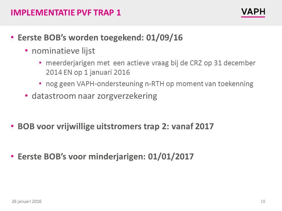 26 januari 2016 IMPLEMENTATIE PVF TRAP 1 Eerste BOB's worden toegekend: 01/09/16 nominatieve lijst meerderjarigen met een actieve vraag bij de CRZ op 31 december 2014 EN op 1 januari 2016 nog geen VAPH-ondersteuning n-RTH op moment van toekenning datastroom naar zorgverzekering BOB voor vrijwillige uitstromers trap 2: vanaf 2017 Eerste BOB's voor minderjarigen: 01/01/2017 18