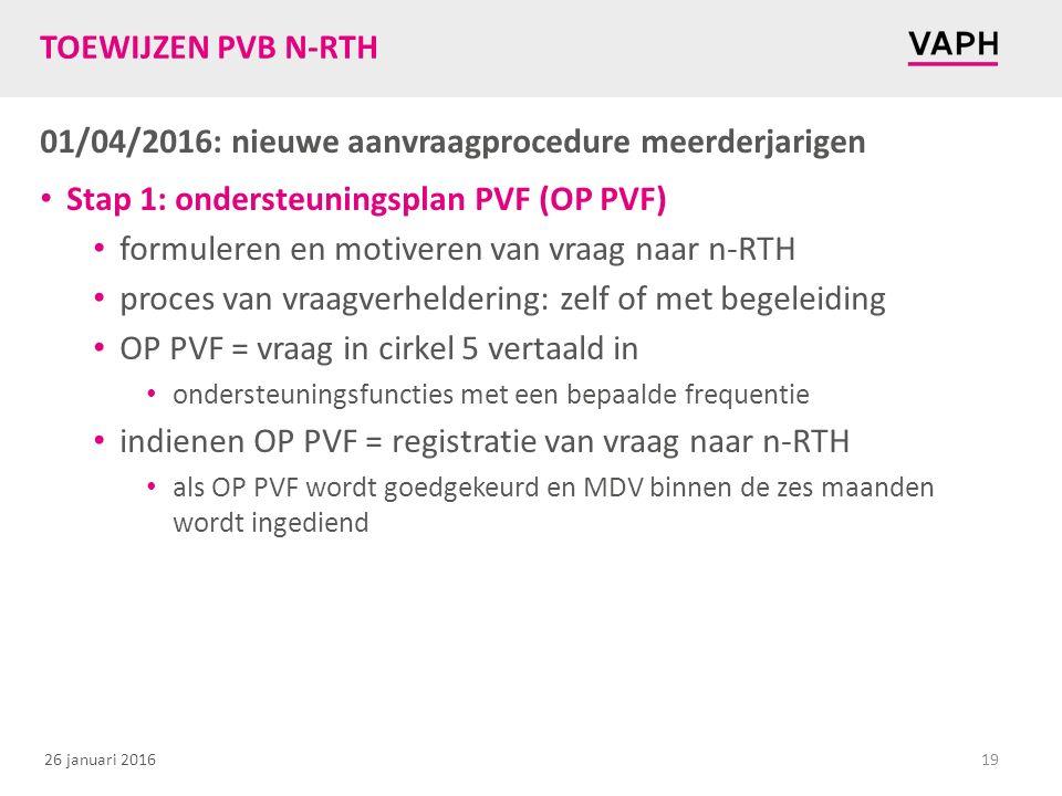 26 januari 2016 TOEWIJZEN PVB N-RTH 01/04/2016: nieuwe aanvraagprocedure meerderjarigen Stap 1: ondersteuningsplan PVF (OP PVF) formuleren en motiveren van vraag naar n-RTH proces van vraagverheldering: zelf of met begeleiding OP PVF = vraag in cirkel 5 vertaald in ondersteuningsfuncties met een bepaalde frequentie indienen OP PVF = registratie van vraag naar n-RTH als OP PVF wordt goedgekeurd en MDV binnen de zes maanden wordt ingediend 19