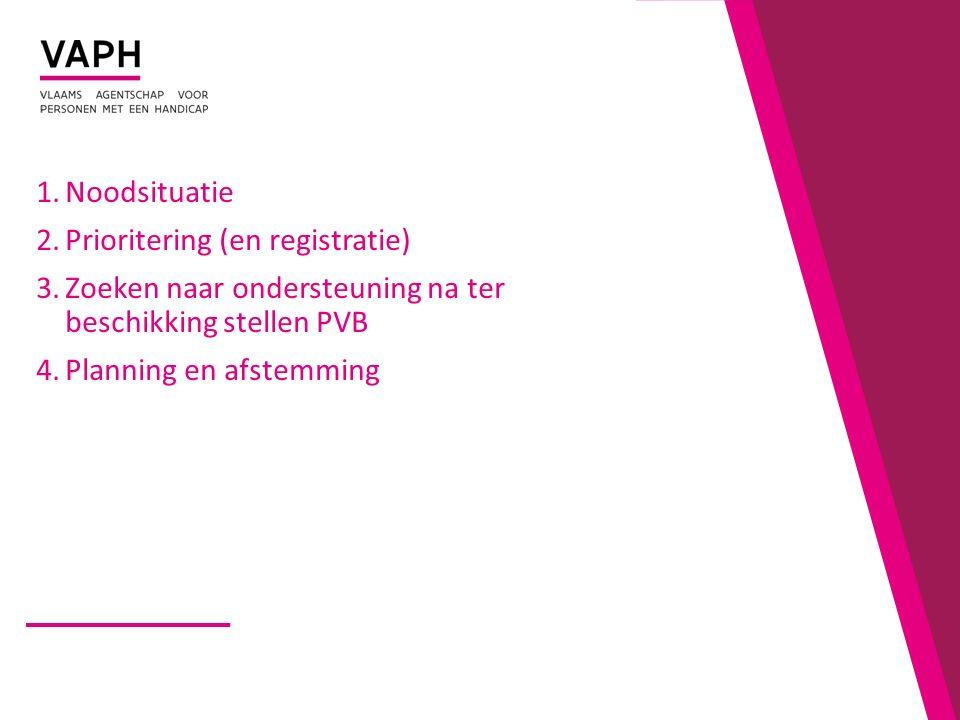 1.Noodsituatie 2.Prioritering (en registratie) 3.Zoeken naar ondersteuning na ter beschikking stellen PVB 4.Planning en afstemming