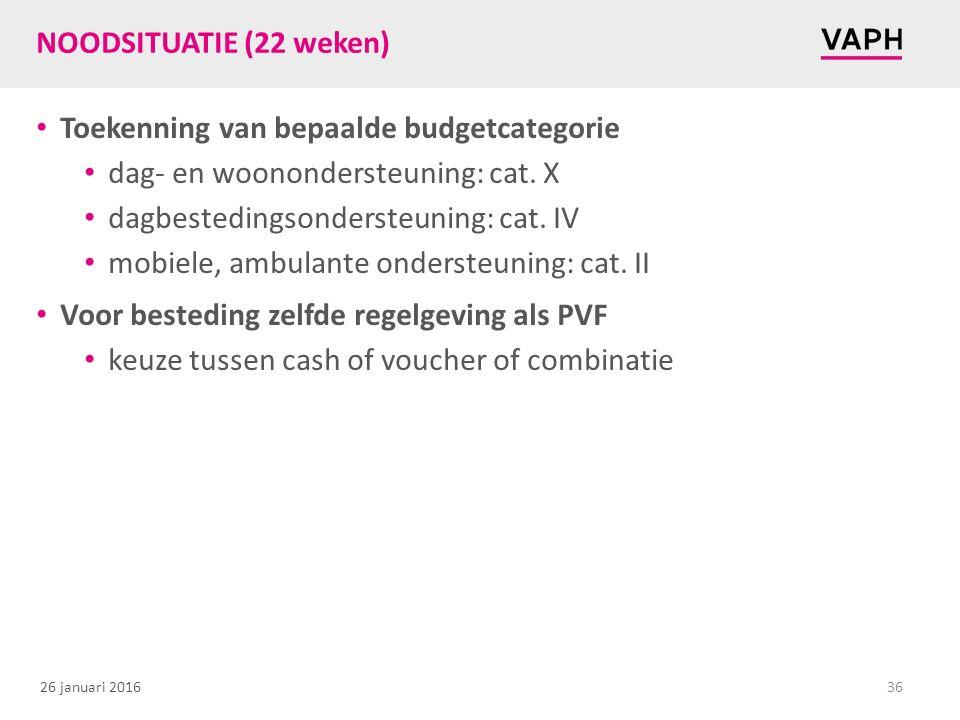 26 januari 2016 NOODSITUATIE (22 weken) Toekenning van bepaalde budgetcategorie dag- en woonondersteuning: cat. X dagbestedingsondersteuning: cat. IV