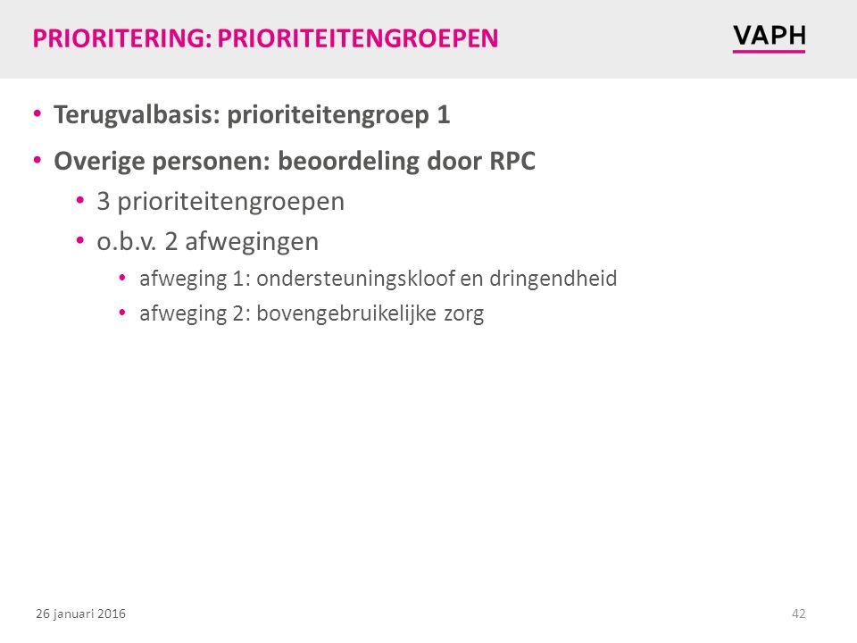 26 januari 2016 PRIORITERING: PRIORITEITENGROEPEN Terugvalbasis: prioriteitengroep 1 Overige personen: beoordeling door RPC 3 prioriteitengroepen o.b.