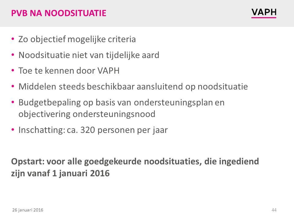 26 januari 2016 PVB NA NOODSITUATIE Zo objectief mogelijke criteria Noodsituatie niet van tijdelijke aard Toe te kennen door VAPH Middelen steeds besc