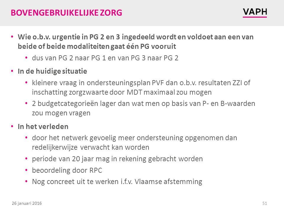 26 januari 2016 BOVENGEBRUIKELIJKE ZORG Wie o.b.v.