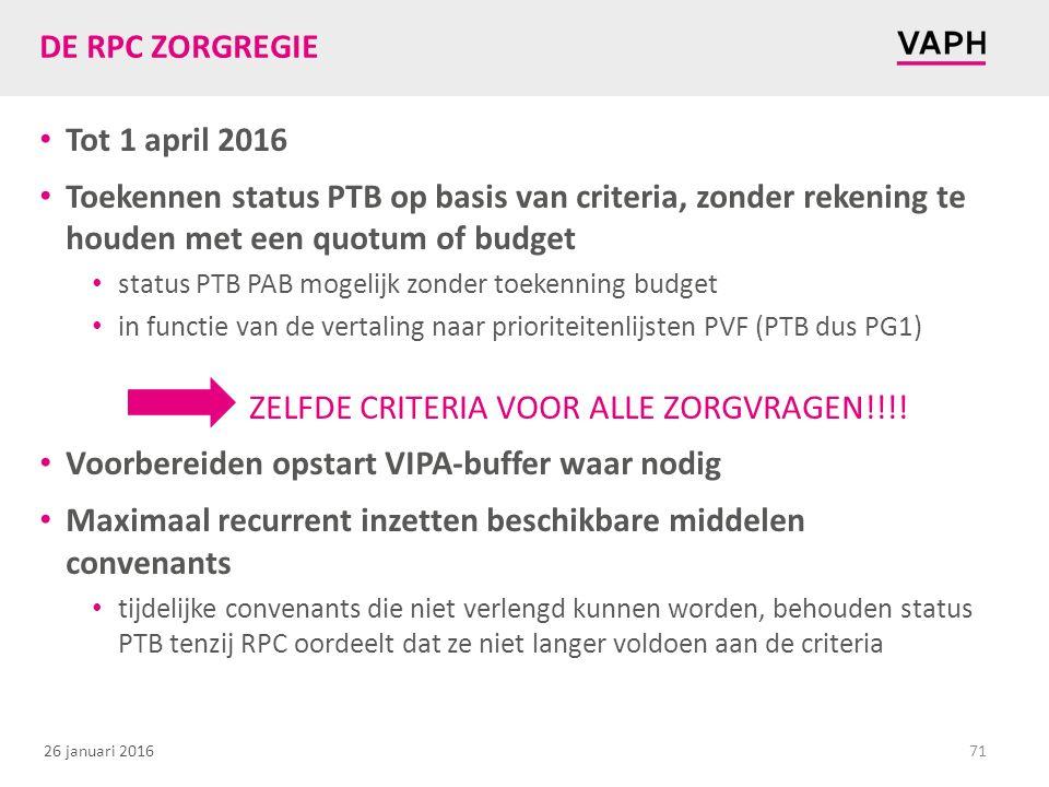26 januari 2016 DE RPC ZORGREGIE Tot 1 april 2016 Toekennen status PTB op basis van criteria, zonder rekening te houden met een quotum of budget statu