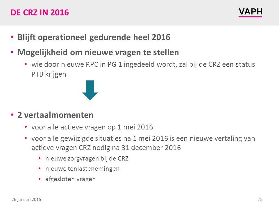 26 januari 2016 DE CRZ IN 2016 Blijft operationeel gedurende heel 2016 Mogelijkheid om nieuwe vragen te stellen wie door nieuwe RPC in PG 1 ingedeeld