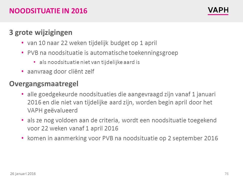 26 januari 2016 NOODSITUATIE IN 2016 3 grote wijzigingen van 10 naar 22 weken tijdelijk budget op 1 april PVB na noodsituatie is automatische toekenni