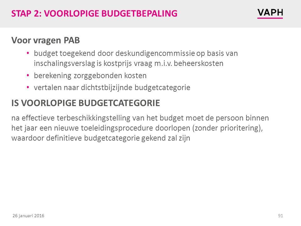 26 januari 2016 STAP 2: VOORLOPIGE BUDGETBEPALING Voor vragen PAB budget toegekend door deskundigencommissie op basis van inschalingsverslag is kostprijs vraag m.i.v.
