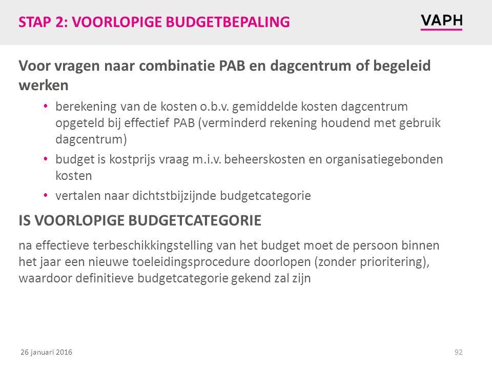 26 januari 2016 STAP 2: VOORLOPIGE BUDGETBEPALING Voor vragen naar combinatie PAB en dagcentrum of begeleid werken berekening van de kosten o.b.v.