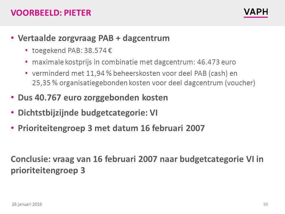 26 januari 2016 VOORBEELD: PIETER Vertaalde zorgvraag PAB + dagcentrum toegekend PAB: 38.574 € maximale kostprijs in combinatie met dagcentrum: 46.473 euro verminderd met 11,94 % beheerskosten voor deel PAB (cash) en 25,35 % organisatiegebonden kosten voor deel dagcentrum (voucher) Dus 40.767 euro zorggebonden kosten Dichtstbijzijnde budgetcategorie: VI Prioriteitengroep 3 met datum 16 februari 2007 Conclusie: vraag van 16 februari 2007 naar budgetcategorie VI in prioriteitengroep 3 96