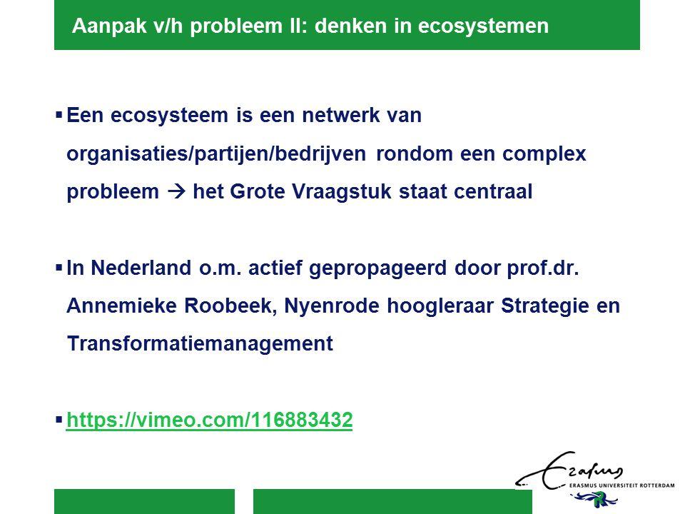 Aanpak v/h probleem II: denken in ecosystemen  Een ecosysteem is een netwerk van organisaties/partijen/bedrijven rondom een complex probleem  het Grote Vraagstuk staat centraal  In Nederland o.m.