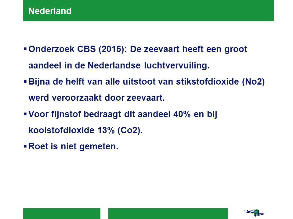 Nederland  Onderzoek CBS (2015): De zeevaart heeft een groot aandeel in de Nederlandse luchtvervuiling.