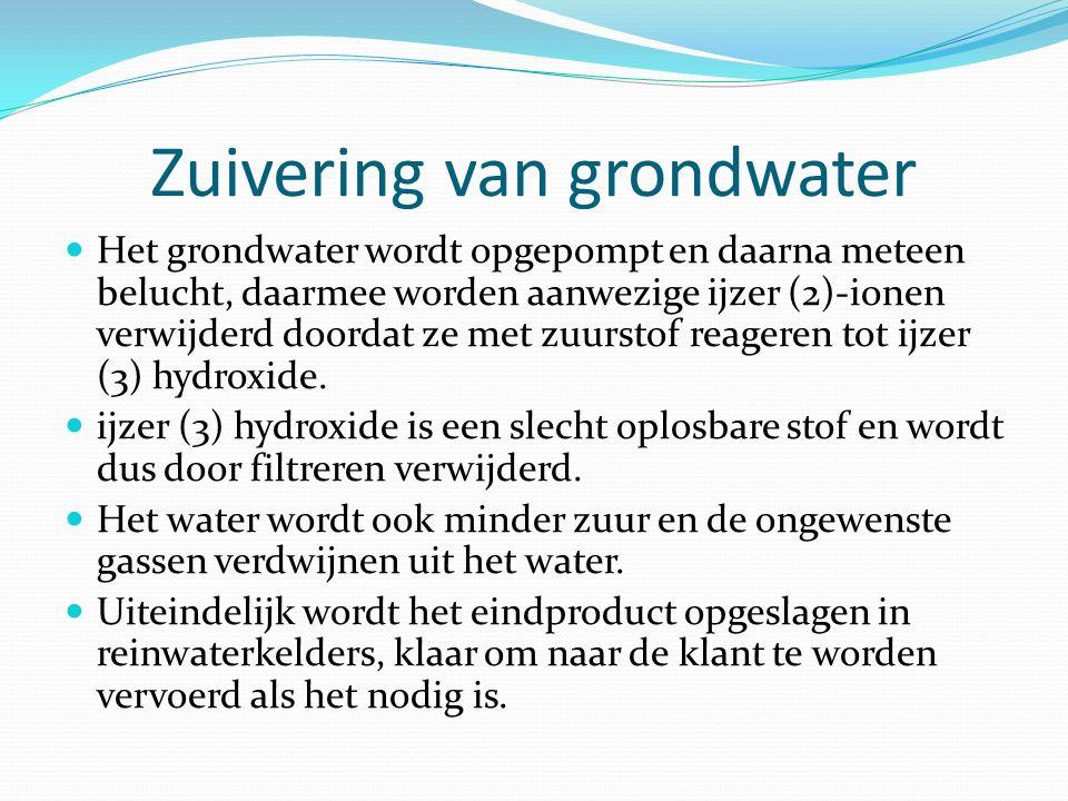 Zuivering van grondwater Het grondwater wordt opgepompt en daarna meteen belucht, daarmee worden aanwezige ijzer (2)-ionen verwijderd doordat ze met z