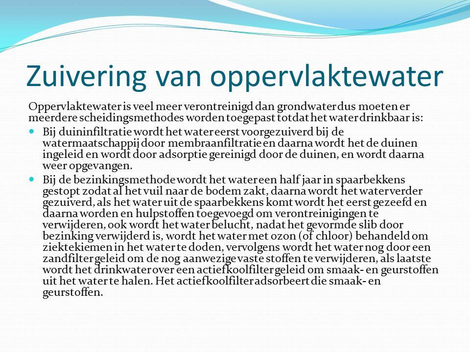 Zuivering van oppervlaktewater Oppervlaktewater is veel meer verontreinigd dan grondwater dus moeten er meerdere scheidingsmethodes worden toegepast t