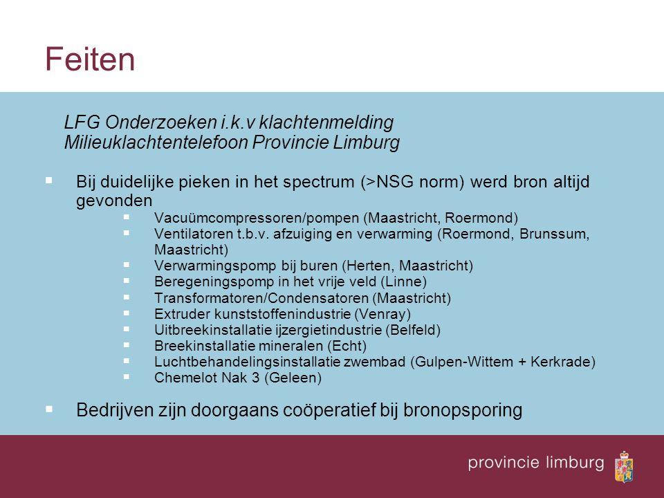 Feiten LFG Onderzoeken i.k.v klachtenmelding Milieuklachtentelefoon Provincie Limburg  Bij duidelijke pieken in het spectrum (>NSG norm) werd bron altijd gevonden  Vacuümcompressoren/pompen (Maastricht, Roermond)  Ventilatoren t.b.v.