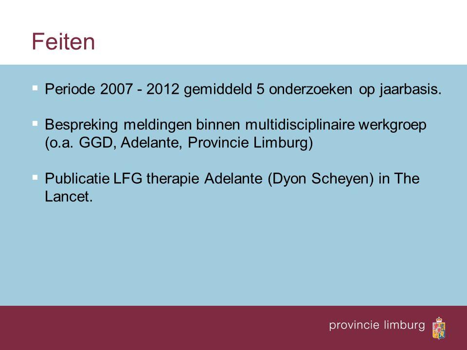 Feiten  Periode 2007 - 2012 gemiddeld 5 onderzoeken op jaarbasis.
