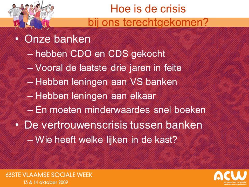 Hoe is de crisis bij ons terechtgekomen? Onze banken –hebben CDO en CDS gekocht –Vooral de laatste drie jaren in feite –Hebben leningen aan VS banken
