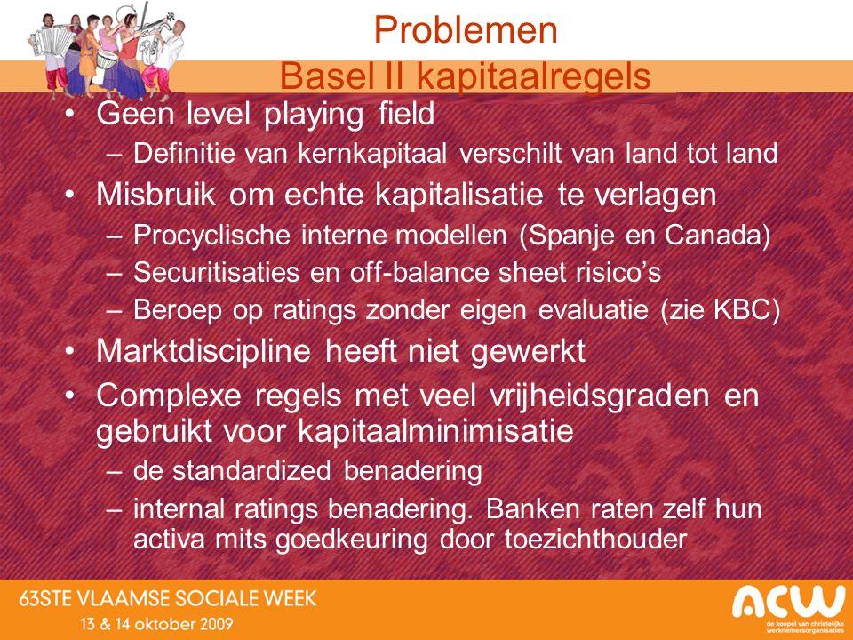 Problemen Basel II kapitaalregels Geen level playing field –Definitie van kernkapitaal verschilt van land tot land Misbruik om echte kapitalisatie te
