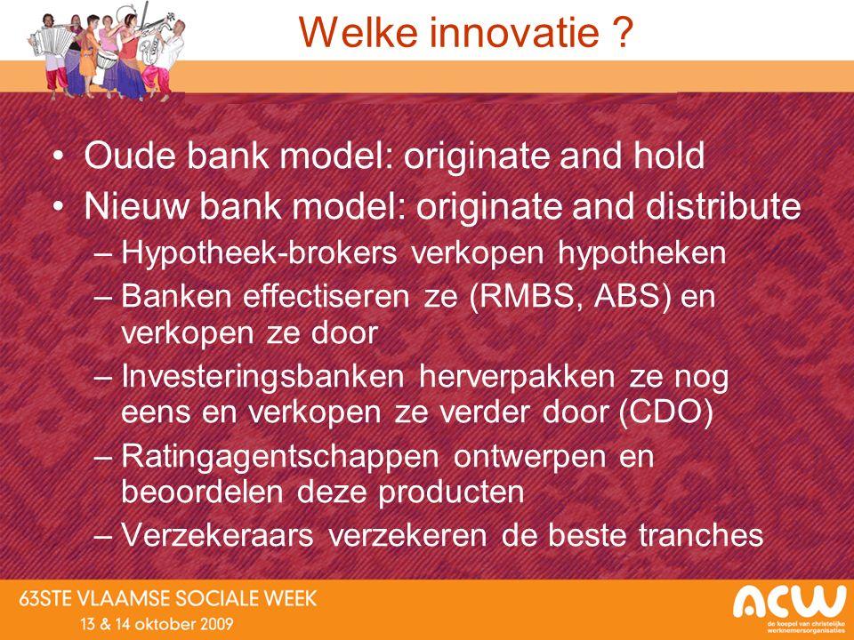 Welke innovatie ? Oude bank model: originate and hold Nieuw bank model: originate and distribute –Hypotheek-brokers verkopen hypotheken –Banken effect