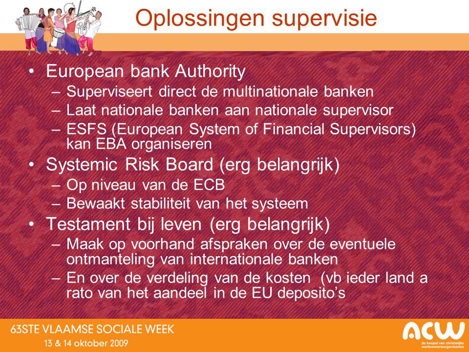 Oplossingen supervisie European bank Authority –Superviseert direct de multinationale banken –Laat nationale banken aan nationale supervisor –ESFS (Eu