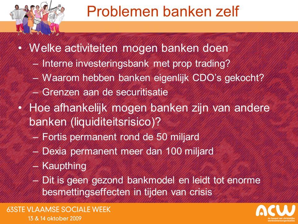 Problemen banken zelf Welke activiteiten mogen banken doen –Interne investeringsbank met prop trading? –Waarom hebben banken eigenlijk CDO's gekocht?