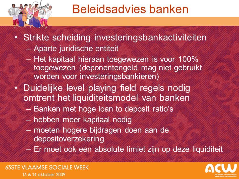 Beleidsadvies banken Strikte scheiding investeringsbankactiviteiten –Aparte juridische entiteit –Het kapitaal hieraan toegewezen is voor 100% toegewez