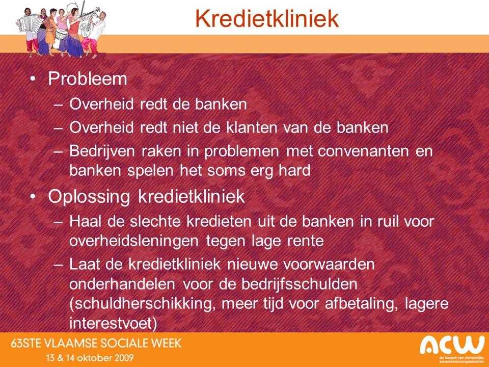 Kredietkliniek Probleem –Overheid redt de banken –Overheid redt niet de klanten van de banken –Bedrijven raken in problemen met convenanten en banken