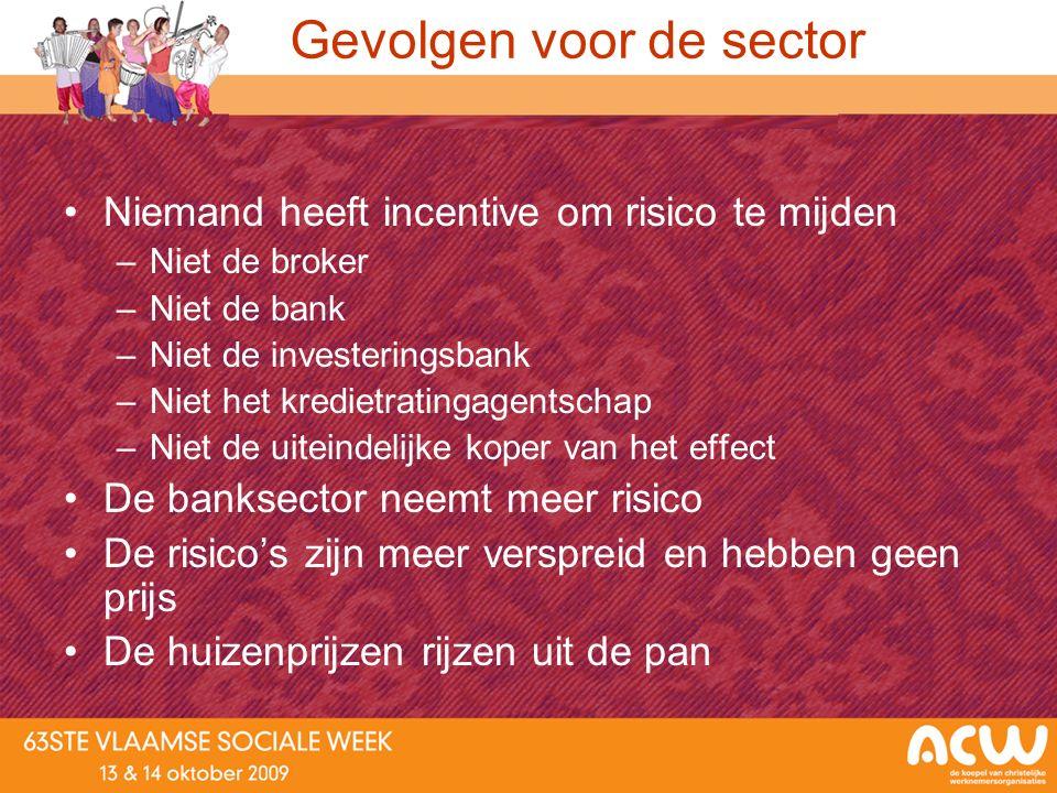 Gevolgen voor de sector Niemand heeft incentive om risico te mijden –Niet de broker –Niet de bank –Niet de investeringsbank –Niet het kredietratingage