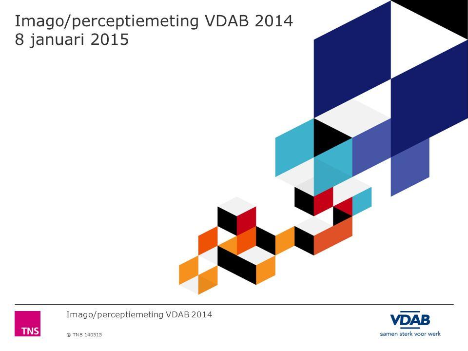 Imago/perceptiemeting VDAB 2014 © TNS 140515 Spontane bekendheid van VDAB is gestegen zowel bij het groot publiek als bij de werkzoekenden 12 % OP BASIS: ALLEN 66 37 12 0 5 3 2 0 0 3 1 WERK- ZOEKENDEN SPONTAAN (n=305) Bekendheid 2006 VDAB geholpen bekendheid: 89% 2012 (n=1103) 74 38 11 1 0 4 1 0 0 0 0 WERK- ZOEKENDEN SPONTAAN (n=257) 2014 (n=1056) significant hoger dan 2012 significant lager dan 2012
