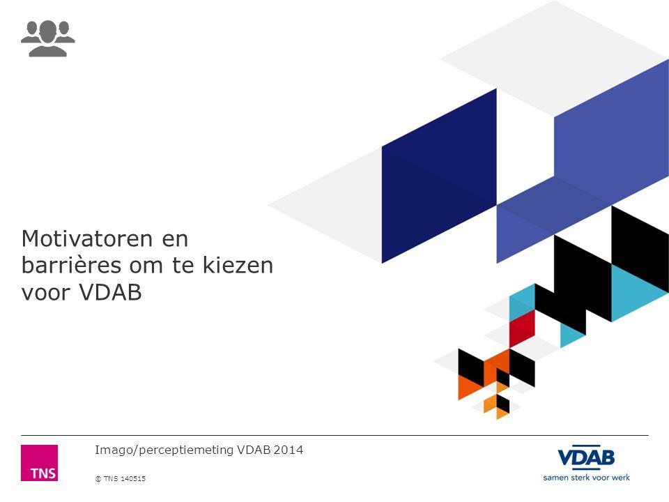Imago/perceptiemeting VDAB 2014 © TNS 140515 Motivatoren en barrières om te kiezen voor VDAB