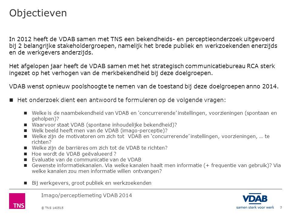 Imago/perceptiemeting VDAB 2014 © TNS 140515 Objectieven 3 In 2012 heeft de VDAB samen met TNS een bekendheids- en perceptieonderzoek uitgevoerd bij 2 belangrijke stakeholdergroepen, namelijk het brede publiek en werkzoekenden enerzijds en de werkgevers anderzijds.