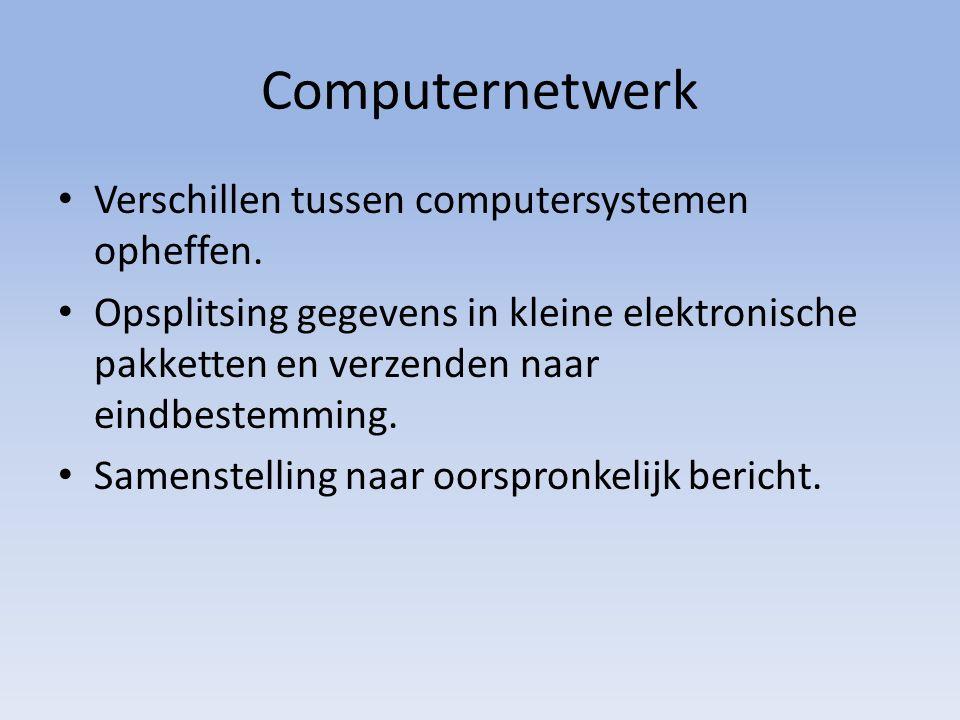 Computernetwerk Verschillen tussen computersystemen opheffen.
