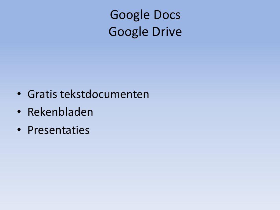Google Docs Google Drive Gratis tekstdocumenten Rekenbladen Presentaties