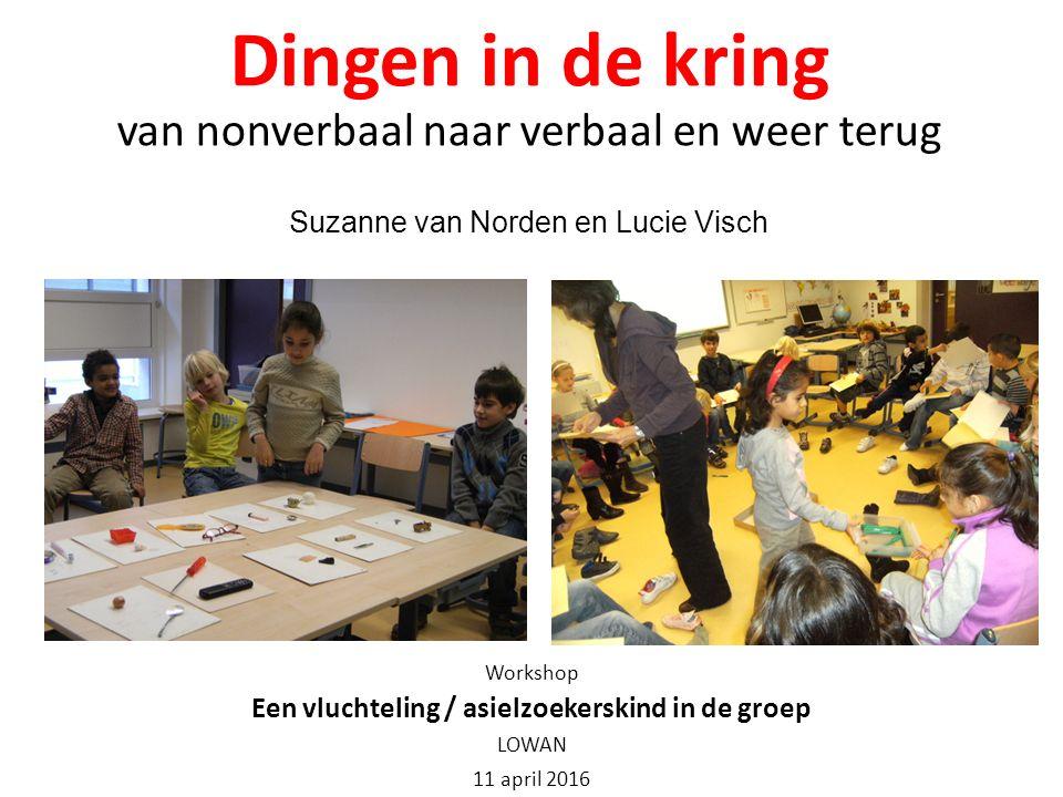 Dingen in de kring van nonverbaal naar verbaal en weer terug Suzanne van Norden en Lucie Visch Workshop Een vluchteling / asielzoekerskind in de groep LOWAN 11 april 2016