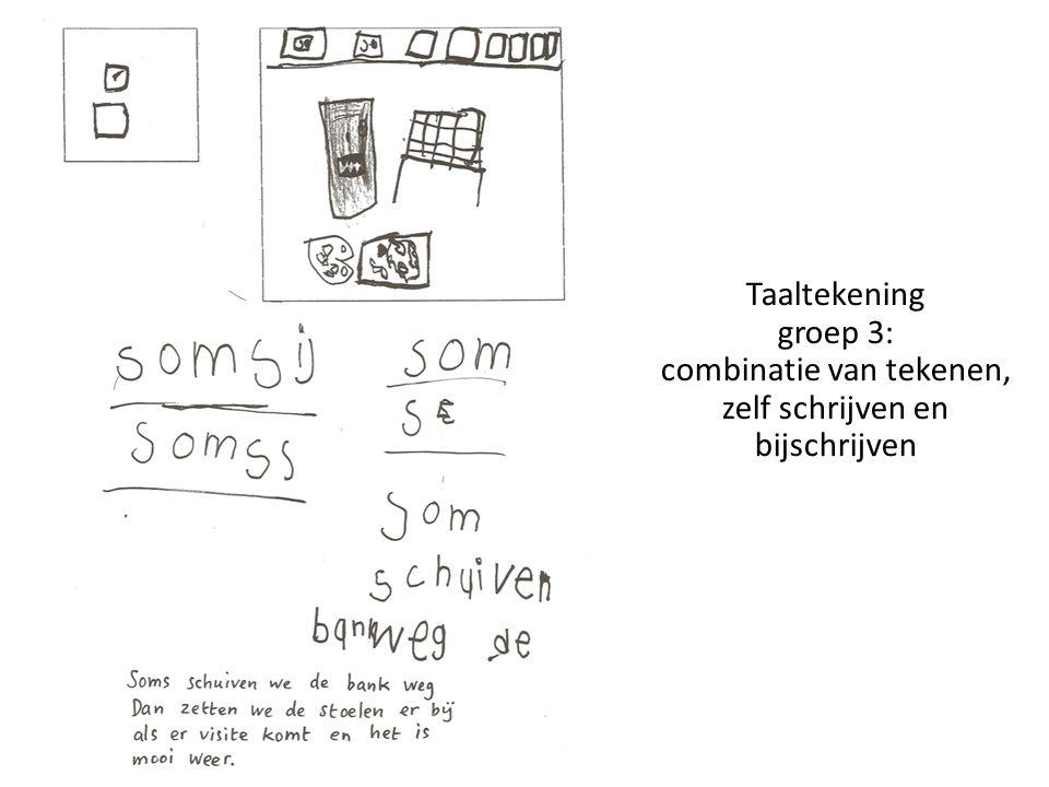 Taaltekening groep 3: combinatie van tekenen, zelf schrijven en bijschrijven