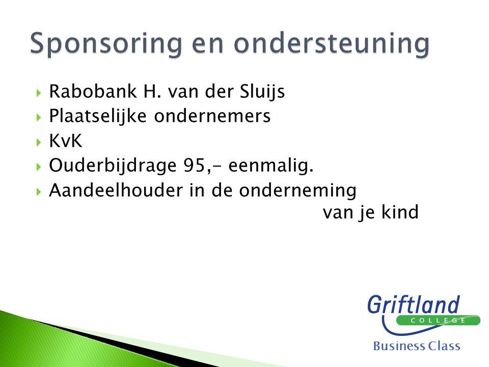  Rabobank H. van der Sluijs  Plaatselijke ondernemers  KvK  Ouderbijdrage 95,- eenmalig.  Aandeelhouder in de onderneming van je kind Business Cl