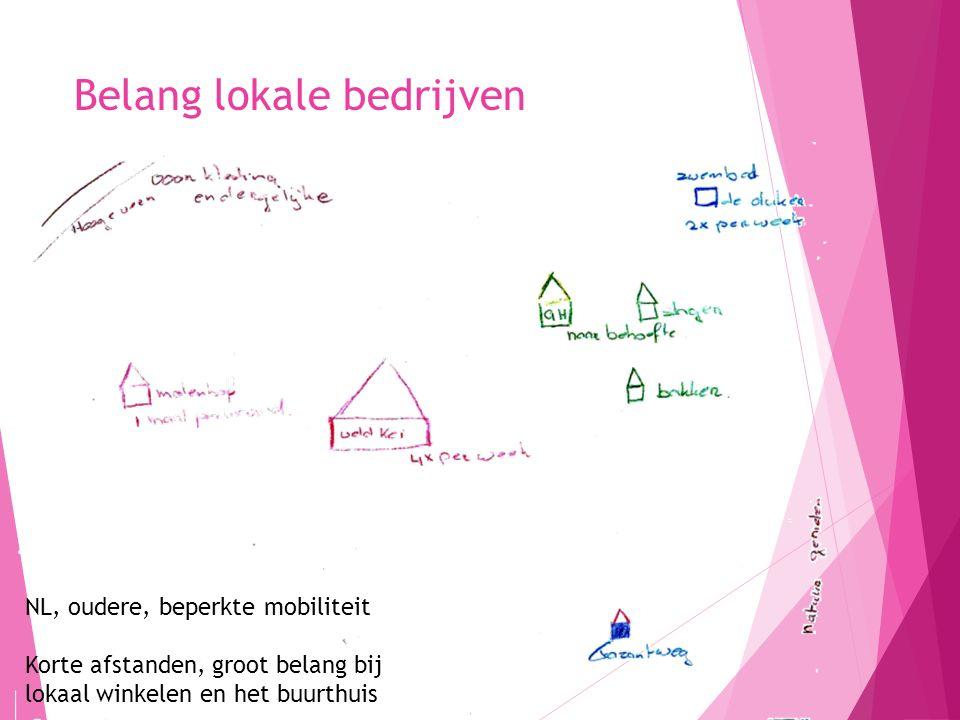 Belang lokale bedrijven 14 NL, oudere, beperkte mobiliteit Korte afstanden, groot belang bij lokaal winkelen en het buurthuis