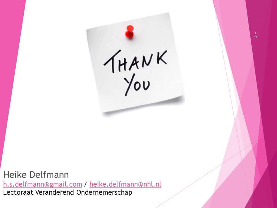 19 Heike Delfmann h.s.delfmann@gmail.comh.s.delfmann@gmail.com / heike.delfmann@nhl.nlheike.delfmann@nhl.nl Lectoraat Veranderend Ondernemerschap