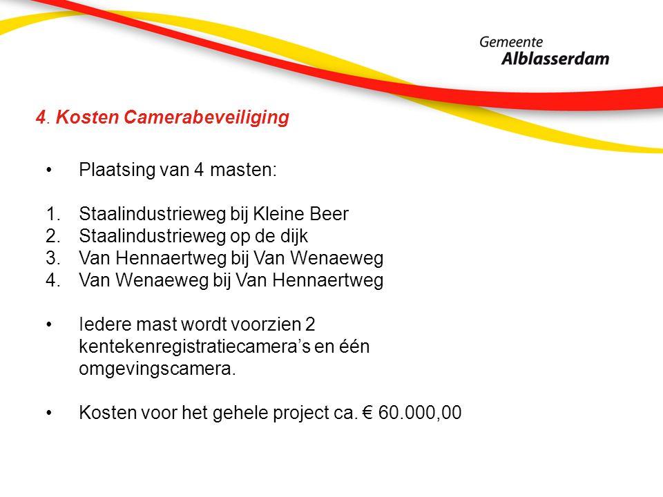4. Kosten Camerabeveiliging Plaatsing van 4 masten: 1.Staalindustrieweg bij Kleine Beer 2.Staalindustrieweg op de dijk 3.Van Hennaertweg bij Van Wenae