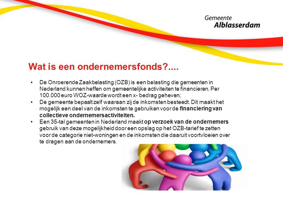 Wat is een ondernemersfonds?.... De Onroerende Zaakbelasting (OZB) is een belasting die gemeenten in Nederland kunnen heffen om gemeentelijke activite