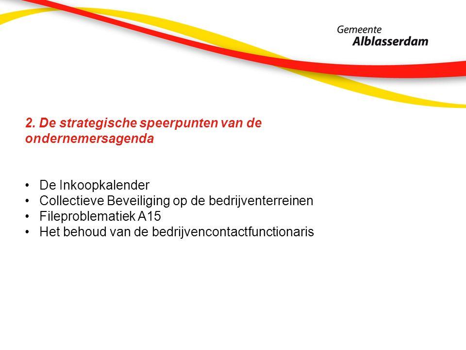 2. De strategische speerpunten van de ondernemersagenda De Inkoopkalender Collectieve Beveiliging op de bedrijventerreinen Fileproblematiek A15 Het be