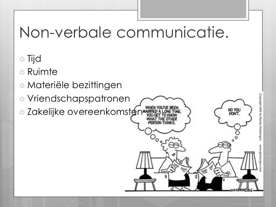 Non-verbale communicatie.  Tijd  Ruimte  Materiële bezittingen  Vriendschapspatronen  Zakelijke overeenkomsten