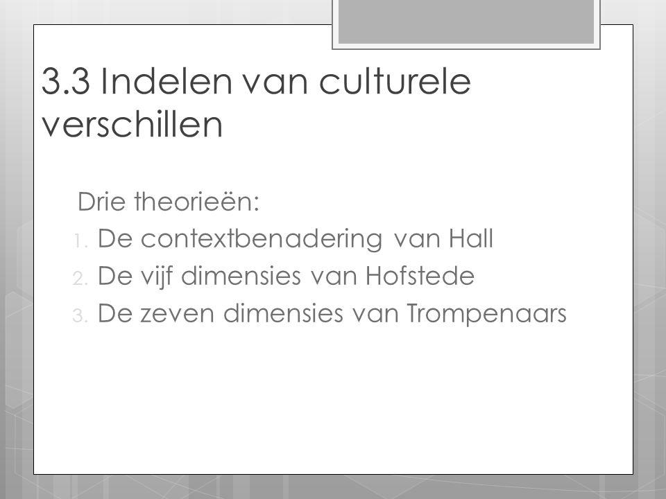 Drie theorieën: 1. De contextbenadering van Hall 2. De vijf dimensies van Hofstede 3. De zeven dimensies van Trompenaars 3.3 Indelen van culturele ver