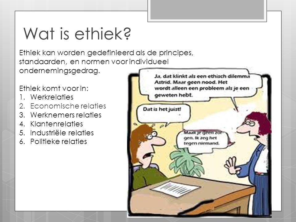 Wat is ethiek? Ethiek kan worden gedefinieerd als de principes, standaarden, en normen voor individueel ondernemingsgedrag. Ethiek komt voor in: 1.Wer