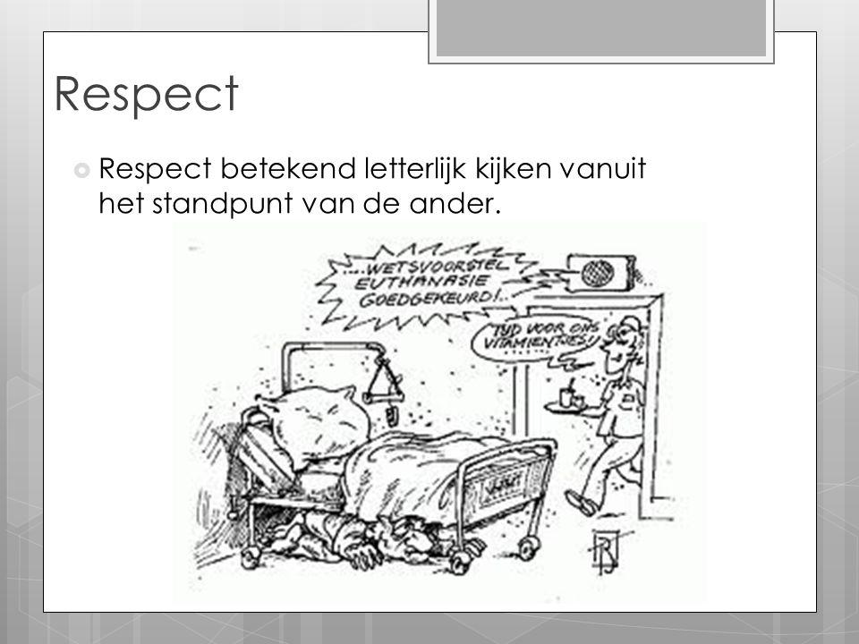 Respect  Respect betekend letterlijk kijken vanuit het standpunt van de ander.