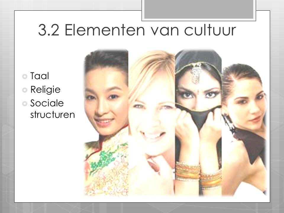 3.2 Elementen van cultuur  Taal  Religie  Sociale structuren