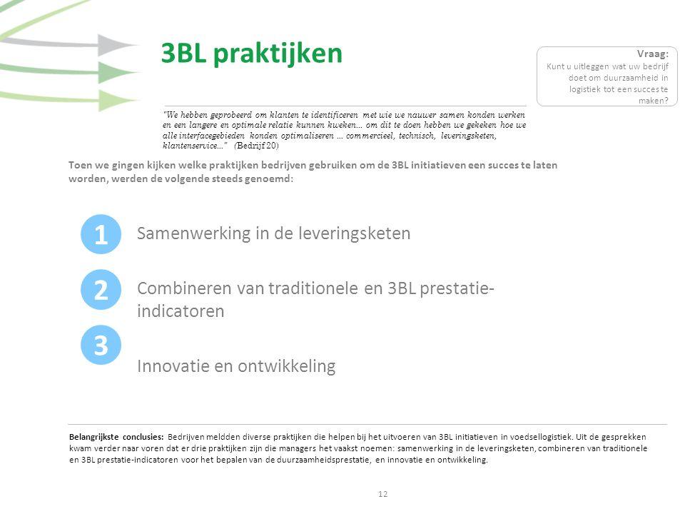 3BL praktijken Toen we gingen kijken welke praktijken bedrijven gebruiken om de 3BL initiatieven een succes te laten worden, werden de volgende steeds