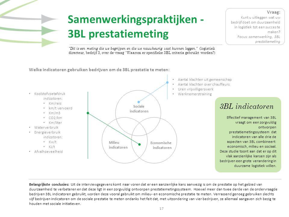 Samenwerkingspraktijken - 3BL prestatiemeting 17 Welke indicatoren gebruiken bedrijven om de 3BL prestatie te meten: Belangrijkste conclusies: Uit de