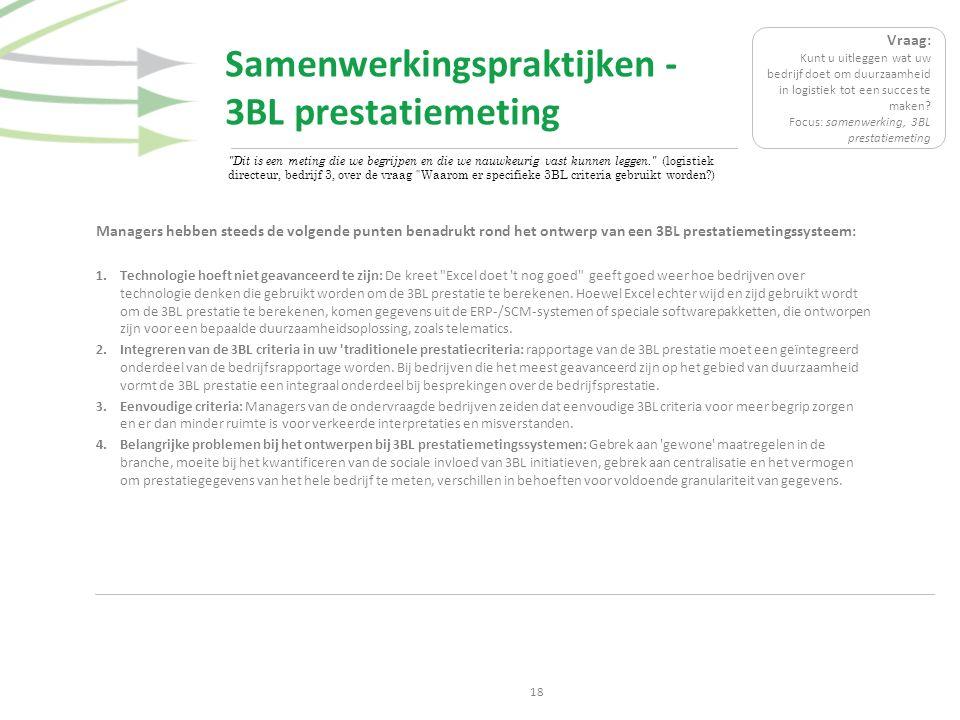 Samenwerkingspraktijken - 3BL prestatiemeting 18 Managers hebben steeds de volgende punten benadrukt rond het ontwerp van een 3BL prestatiemetingssyst
