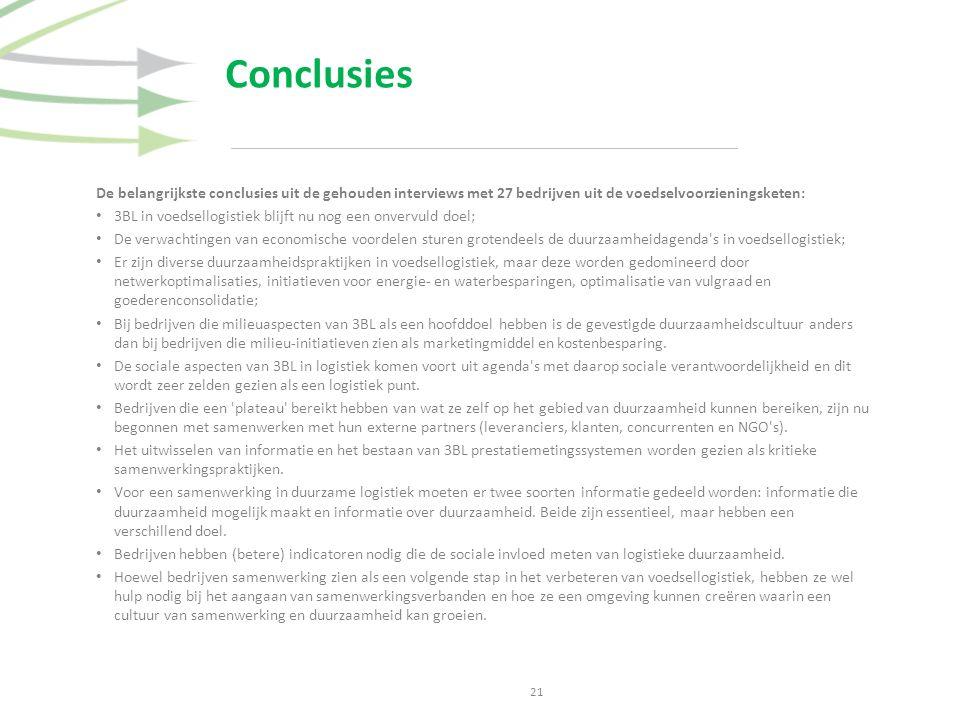 Conclusies 21 De belangrijkste conclusies uit de gehouden interviews met 27 bedrijven uit de voedselvoorzieningsketen: 3BL in voedsellogistiek blijft