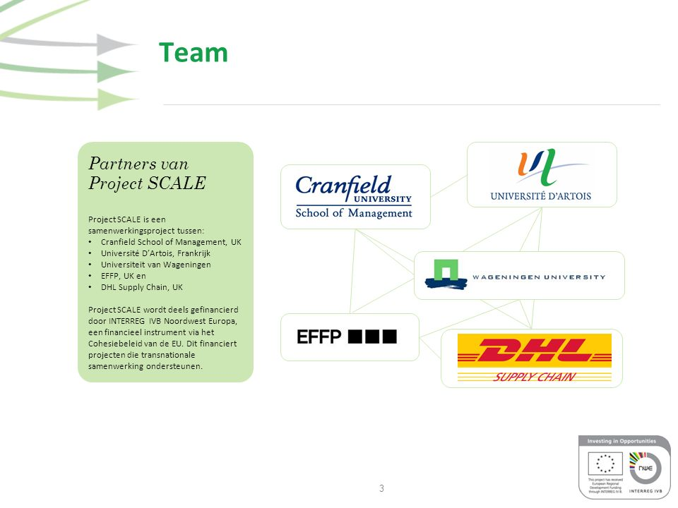3 Team Partners van Project SCALE Project SCALE is een samenwerkingsproject tussen: Cranfield School of Management, UK Université D'Artois, Frankrijk Universiteit van Wageningen EFFP, UK en DHL Supply Chain, UK Project SCALE wordt deels gefinancierd door INTERREG IVB Noordwest Europa, een financieel instrument via het Cohesiebeleid van de EU.